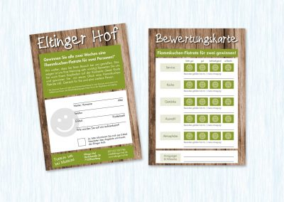 Restaurantbewertungskarte mit Gewinnspiel