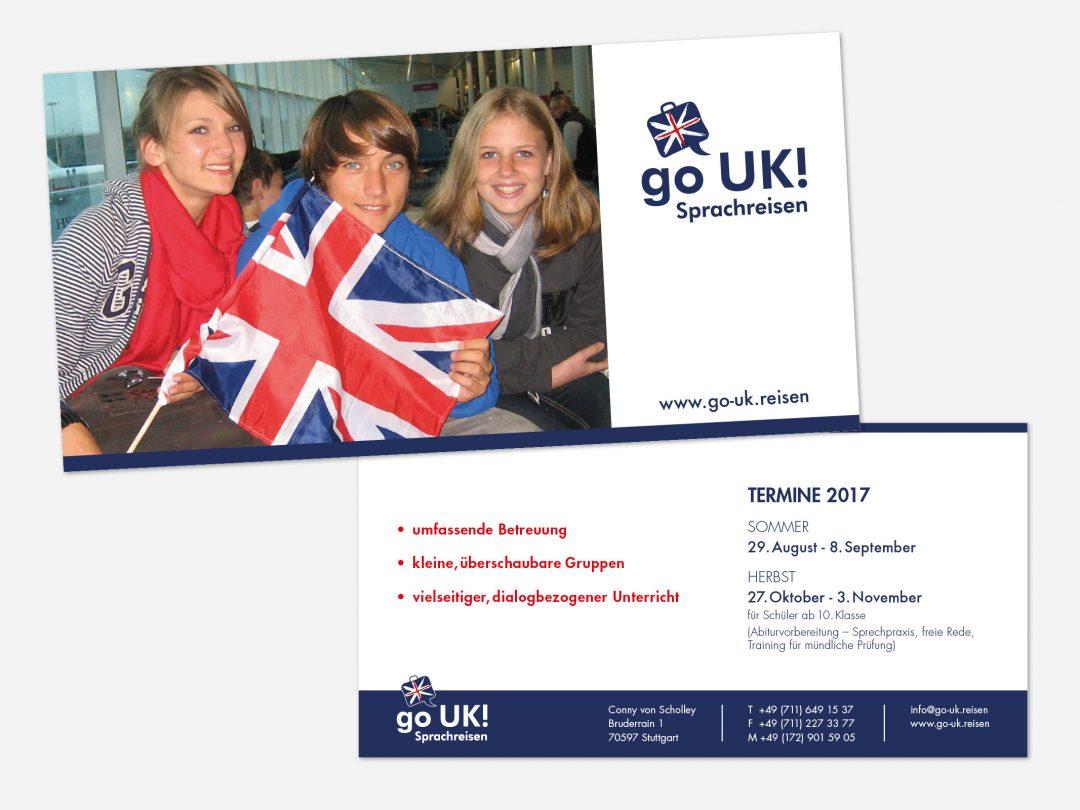 Werbeflyer für Sprachreise von Go UK!
